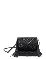 Brian Atwood Nora Leather Fringe Crossbody Bag Black
