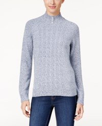 Karen Scott Mock Neck Cable Knit Sweater Only At Macy's Waterfall Marl