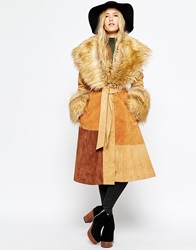 Asos Coat In Suede With Faux Fur Collar Tan