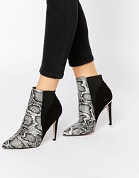 Lipsy Bailey Snake Print Heeled Ankle Boots Beigecombo