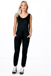 Boohoo Casual Fleece Draw Cord Jogger Jumpsuit Black