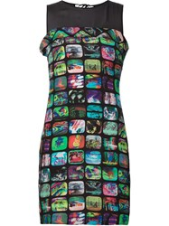 Jeremy Scott Tv Screen Print Sheath Dress Black