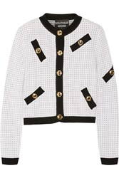 Boutique Moschino Polka Dot Knitted Cardigan White