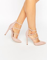 Faith Triple Strap Heeled Shoes Nude Beige