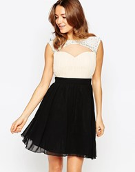 Little Mistress Skater Dress With Cut Out Detail Cream Black Navy