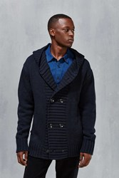 Insight Double Breasted Hooded Cardigan Navy