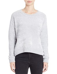 Lord And Taylor Boxy Chenille Pullover Silver