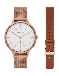 Skagen Anita Rose Goldtone Stainless Steel Mesh Bracelet Watch And Brown Leather Strap Box Set