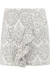 Maje Jugeote Ruffled Cotton Blend Jacquard Mini Skirt Gray