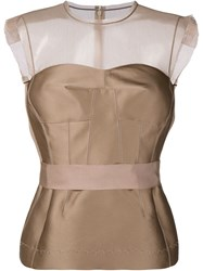 Lanvin Sleeveless Silk Blend Top Nude And Neutrals