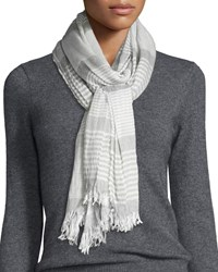 Crinkle Stripe Modal Wool Scarf Smoke Grey Women's Eileen Fisher