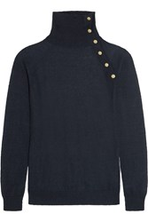 Balmain Button Embellished Knitted Turtleneck Sweater Blue