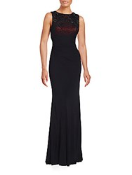 David Meister Ombre Dual Layered Gown Black Red