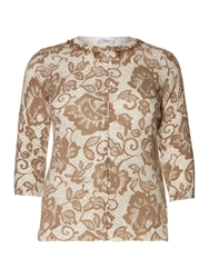 Persona Milly Lace Print Knitted Cardigan Beige