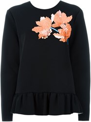 Marni Embellished Flower Applique Blouse Black