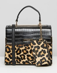 Dune Mini Tote Bag With Leopard Panel Leopard Black Red