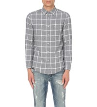 Diesel S Tas Checked Cotton Flannel Shirt White