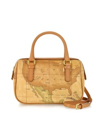 Alviero Martini 1A Prima Classe Geo Printed Mini New Basic Satchel Bag Brown