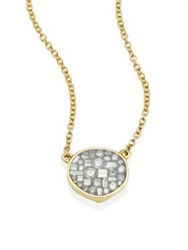Pleve Ice Diamond And 18K Yellow Gold Small Pebble Pendant Necklace