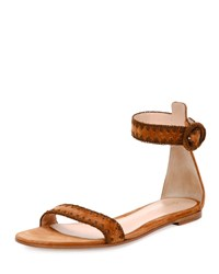 Gianvito Rossi Braided Suede Flat D'orsay Sandal Light Brown Size 39.5B 9.5B