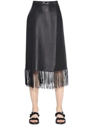 Valentino Fringed Nappa Leather Wrap Skirt