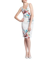 Tracy Reese Bodycon Sleeveless Floral Print Dress Drifitng Floral