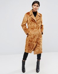 Asos Longline Panelled Faux Fur Coat Camel Brown