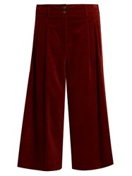 Vanessa Bruno Easton Wide Leg Cotton Blend Corduroy Culottes Burgundy