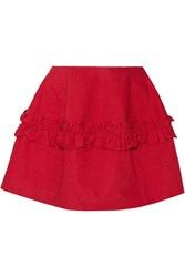 J Brand Simone Rocha Ruffled Denim Mini Skirt Red