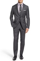 Boss Men's 'Reyno Wave' Extra Trim Fit Solid Wool Suit Charcoal