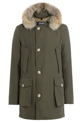 Woolrich Arctic Df Down Parka With Fur Collar Green
