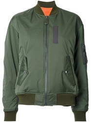 G.V.G.V. Lace Up Back Reversible Bomber Jacket Green