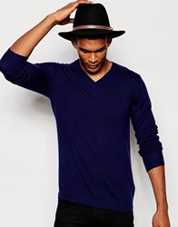 Asos Merino Wool V Neck Jumper Navy