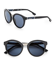 Diesel 53Mm Round Sunglasses Black Blue