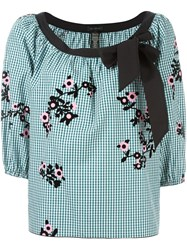 Marc Jacobs Floral Gingham Blouse Green