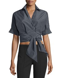 Michael Kors Short Sleeve Windowpane Wrap Blouse Black White Women's