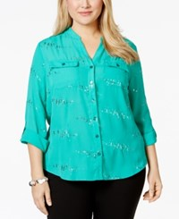 Ny Collection Plus Size Sequin Embellished Utility Blouse
