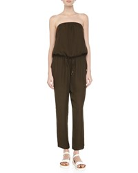 Haute Hippie Strapless Silk Jumpsuit Military