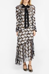 Erdem Rosaley Voile Jacquard Dress Black Ecru