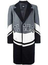 Ktz Colour Block Midi Coat Grey
