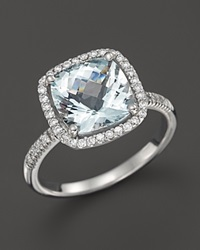 Bloomingdale's Aquamarine And Diamond Cushion Cut Ring In 14K White Gold Blue White