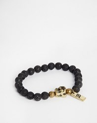 Icon Brand Beaded Bracelet With Charm Black