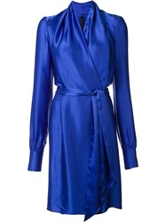 Gareth Pugh Silk Wrap Dress Blue