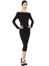Dolce And Gabbana Ruched Stretch Wool Crepe Pencil Dress