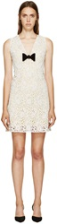Burberry White And Yellow Floral Macrame V Neck Dress
