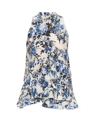 Erdem Rosa Blue Hill Garden Print Top Blue White