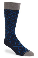 Men's Hook Albert 'Diagonal Line' Socks Blue Elements Blue