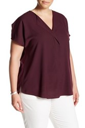 14Th And Union Short Sleeve V Neck Blouse Plus Size Red