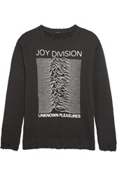 R 13 R13 Joy Division Distressed Printed Cotton Jersey Sweatshirt Anthracite