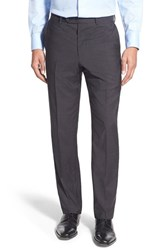 Men's John W. Nordstrom Flat Front Solid Wool Trousers Charcoal